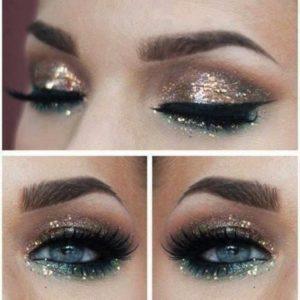trucco-occhi-oro-e-verde-con-glitter